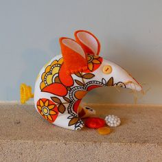 Retro mouse  vintage fabric 60s  orange and yellow by audreyscat, £10.25
