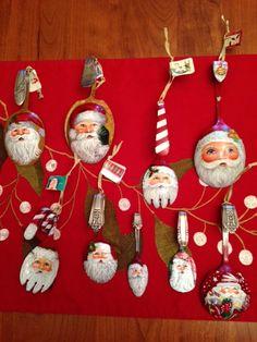 Santas on spoons by Pat Matzke