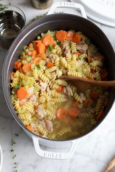 Homemade Chicken Noodle Soup! This is my lazy mom version! Just throw everything into one big pot with some water and let it boil for about 45 minutes! It's so easy and delicious! To get my tips and to see what ingredients I use, read the post below!