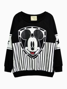 Mickey Stripe Print Sweatshirt - Choies.com