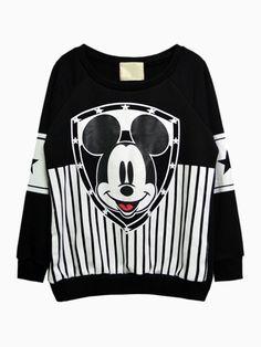 Mickey Stripe Print Sweatshirt - Choies.com
