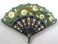 Antique Fan Shaped Mosaic Brooch...Wish I didn't sell this one!