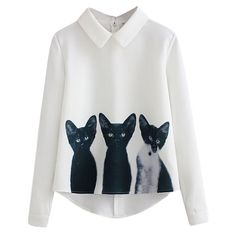 Fashion Three Cats Printing Pullover Shirt Long Sleeve Casual Girls Korean Style White Blouse