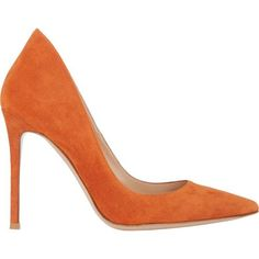 Gianvito Rossi Ellipsis Pumps ($309) ❤ liked on Polyvore featuring shoes, pumps, heels, orange, heels & pumps, suede slip on shoes, orange pumps, slip on shoes and orange suede pumps