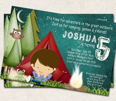 Camping Birthday Party Invitation green by missbellaexpressions, $12.99