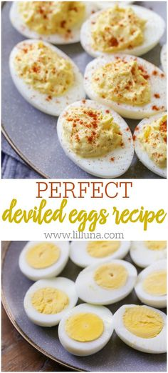 Nothing better than a smooth deviled egg appetizer! You'll be surprised with how easy these are to make. Tons of flavor, super delicious and perfect for parties and holidays. all about appetizers Perfect Deviled Eggs, Best Deviled Eggs, Deviled Eggs Recipe, Deviled Egg Salad, Easter Deviled Eggs, Appetizers For Party, Appetizer Recipes, Birthday Appetizers, Clean Eating Snacks