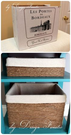 Transform an ugly cardboard box into an elegant jute twine storage box.