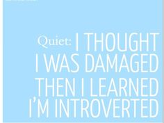 #depression you may be an introvert and thats ok. Damaged? No. Introvert? Yes. This could be me.