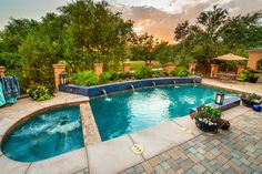World's Greatest Pools 2013 Summer Entries - traditional - pool - phoenix - Pebble Tec Superior Quality Pool Finishes Pool Finishes, Pool Colors, Pool Landscape Design, Pool Water Features, Backyard Pool Designs, Backyard Ideas, Fence Landscaping, Pool Fence, Dream Pools
