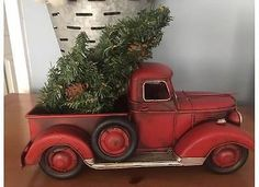 red pickup metal truck farmhouse rustic christmas decor - Christmas Truck Decor