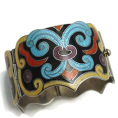Monumental Margot de Taxco Arabesque 5531 Enamel Sterling Silver from littlemexicansilvershop on Ruby Lane