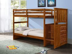 Bunk Beds with Storage, Stairs, and Built-in Dresser in Twin/Full