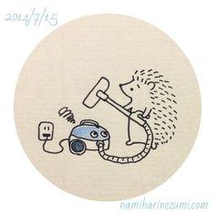 掃除機、壊れた。#ハリネズミ 209    My vacuum cleaner broke.  #hedgehog #illustration #drawing #はりねずみ #イラスト #ペン画 #illustagram