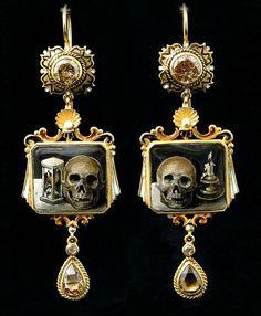 Codognato hand-painted Memento  Mori earrings