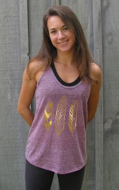 Womens Racerback, Womens Tank, Tank Top, Yoga Shirt, Yoga Clothes, Feather Shirt, Tribal, Gold by GoodSailorApparel on Etsy https://www.etsy.com/listing/210602891/womens-racerback-womens-tank-tank-top