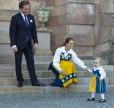 Princess Estelle with her Aunt Princess Madeleine and Uncle to be Christopher Oneill during the traditional National Day celebrations in Stockholm on 6 June 2013