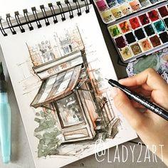 Watercolor and ink, watercolor sketchbook, watercolor landsc Watercolor Art Lessons, Watercolor Art Diy, Watercolor Sketchbook, Watercolor Landscape, Art Sketches, Art Drawings, Art Videos For Kids, Urban Sketching, Painting & Drawing