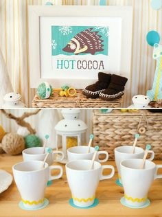 Hot chocolate and mini (baby) desserts for a winter baby shower.