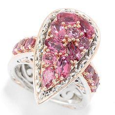 151-121 - Gems en Vogue 2.40ctw Pink Tourmaline Cluster Pear Shaped Ring