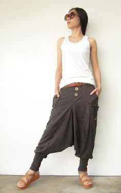 NO.95    Charcoal Brown Cotton Jersey Casual Harem Pants Unique Pockets Drop-Crotch Trousers on Etsy, $45.00
