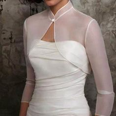 Online Shop New Wedding Bolero Jacket Tippet Wraps With Organza Fabric Three Quarter Sleeves High Neck Bridal Accessories Women Sheer Stole Edgy Wedding, Purple Wedding, Bridal Shrug, Lace Bolero, Wedding Jacket, Wedding Wraps, Fabulous Dresses, Bridal Accessories, Cheap Accessories