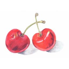 Kitchen Art Cherries (£6.22) ❤ liked on Polyvore featuring home, home decor, wall art, red wall art, unframed wall art and red home decor