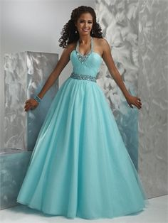 Ball Gown Halter Straps Beaded Neckline and WaistBand Prom Dress PD10494