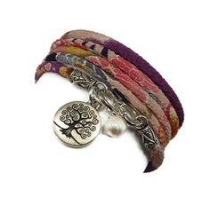 Wrap Bracelet with Tree of LIfe Charm and Freshwater Pearl, yoga jewelry, yoga bracelet on Etsy, $36.00