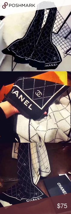 Chanel criss cross pattern scarf (Pre order! Week at max) beautiful Chanel criss cross pattern shawl / scarf 180x75 cm has reversible colors, black with white logo, and white with black logo on reverse, i absolutely love love this scarf ! i have also noted if orders haven't restocked passed the poshmark shipping cancellation offering time i will throw in a little designer gift for the inconvenience as well! Happy shopping dolls! CHANEL Accessories Scarves & Wraps