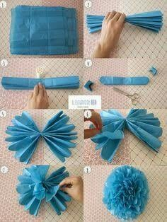 - Neue Ideen - Papierdekoration - - You are in the right place about cute Baby Supplies Here we offer you the most beautiful pictures about the Baby Supplie Tissue Paper Flowers, Diy Flowers, Tissue Paper Pom Poms Diy, Tissue Garland, Diy And Crafts, Crafts For Kids, Paper Crafts, Birthday Decorations, Baby Shower Decorations