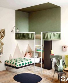 Love the paint job on these bunk beds. That top bunk feels like a completely different room! Excellent idea to make a kids room feel bigger.and give them a treehouse :) by Cool Bunk Beds, Kids Bunk Beds, Loft Beds, Bunkbeds For Small Room, Bunk Bed Ideas For Small Rooms, Bunk Bed Designs, Kids Room Design, Room Kids, Kids Room Paint