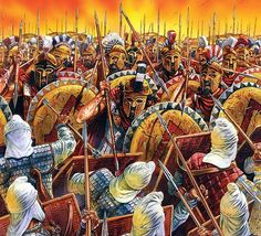 """""""Battle of Plataea"""" by Peter Dennis - A defeat of the Persian army by the Greeks at Plataea in 479 BC. Greek History, Roman History, Ancient History, Ancient Rome, Ancient Greece, Military Art, Military History, Battle Of Plataea, Spartan Battle"""