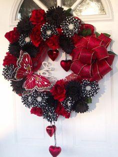 Valentine's Day Love Heart Wreath Butterfly