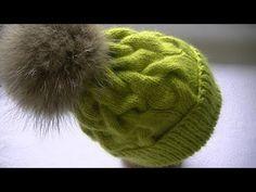 Вязание шапки узором коса с тенью с 15 петель - YouTube Crochet Hooded Scarf, Crochet Beanie, Knitted Hats, Knit Crochet, Crochet Hats, Cable Knit Hat, Cable Knitting, Craft Accessories, Crochet Videos