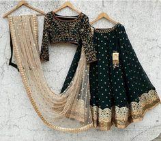 F you're wondering about the latest lehenga blouse designs, you've reached the right spot. A designer lehenga blouse can make your look fresh from fashion Black Lehenga, Indian Lehenga, Lehenga Saree, Lehenga Choli Wedding, Green Lehenga, Bridal Sarees, Silk Sarees, Indian Attire, Indian Wear