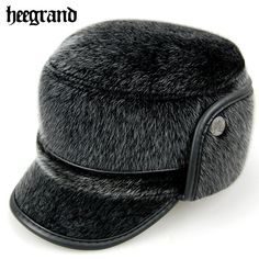 19ce30a33e1 HEE GRAND Winter Old Men PU Leather Wool Snapback Caps Thickening Imitation  Mink Hats Man Protect