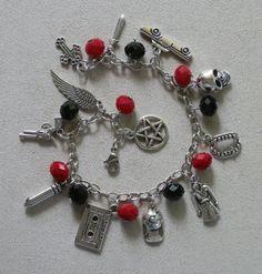 Supernatural inspired, Beaded Charm Bracelet, Red and Black Glass Beads #Supernatural #DeanWinchester #SamWinchester #Castiel