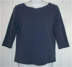 TALBOTS Top Small Blue Stretch 3/4 Sleeve Shirt S Pullover Cotton Spandex Solid #Talbots #KnitTop