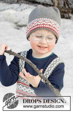 Shinny Upatree Hat / DROPS Children - Knitted hat for babies and children in DROPS Baby Merino with Nordic pattern. Baby Knitting Patterns, Crochet Patterns, Drops Design, Cable Knitting, Free Knitting, Drops Baby, Kids Winter Hats, Holiday Hats, Crochet Diagram