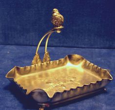Antique Pairpoint Calling Card Holder Tray W Adee Figure Letter Cards