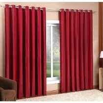 Cortina Vermelha - Ilhos Cromado 3,00x2,50 - Varão Simples