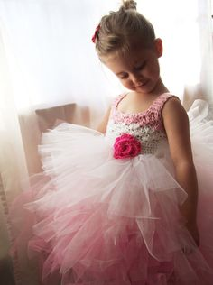 Flower Girl Tutu Dress Crochet Bodice Ombre Pink and by KingSoleil, $125.00