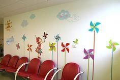 Décoration de la salle d'attente Amérique (Mucoviscidose) - Service des consultations pédiatriques, Hôpital de Besançon .......................................................... Decoration of the waiting room America (Mucoviscidose) - Pediatric consultations, Hospital of Besançon
