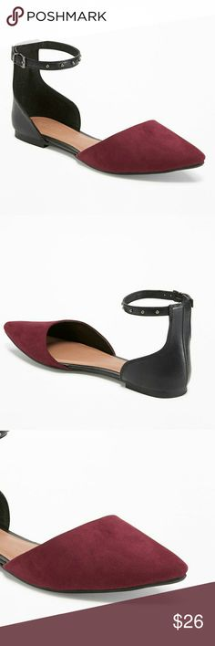 Old Navy Ankle Strap Flat Shoes feature:  Black & burgundy color block  Ankle strap with studded decor  Pointy Toe  Smooth footbed with printed logo  Textured rubber outsole for traction Old Navy Shoes