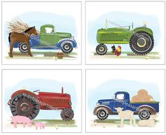 These prints would make a great decoration for a Vintage Farm Themed party. Farm Vintage Retro Tractor Pickup Trucks by sweetpeasartstudio2, $21.99 pinned by TickleTreeDS, http://tickletreestudio.wordpress.com