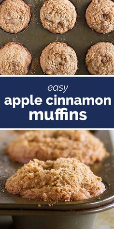With the perfect amount of cinnamon little pockets of apples and a sweet crumb topping these Apple Cinnamon Muffins are the perfect way to start your day. - Muffins - Ideas of Muffins Breakfast Recipes, Dessert Recipes, Apple Breakfast, Breakfast With Apples, Easy Breakfast Muffins, Healthy Muffins, Healthy Apple Cinnamon Muffins, Apple Oatmeal Muffins, Applesauce Muffins