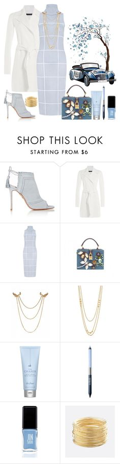 """Blue Fall"" by loves-elephants ❤ liked on Polyvore featuring Aquazzura, Ralph Lauren Black Label, C/MEO COLLECTIVE, Dolce&Gabbana, Gorjana, Drybar, Estée Lauder, WALL, JINsoon and Avenue"