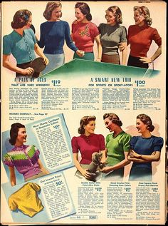 A lovely selection of (mostly) short sleeved knits from 1939. #vintage #fashion #1930s