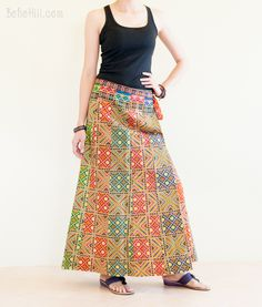 Wrap Around Pleated Long Skirt Patchwork Sarong Colorful Exotic Arab Tiles Pattern Hippie Skirts, Tile Patterns, Exotic, Tiles, Colorful, Blouse, Box, Fashion, Scrappy Quilts