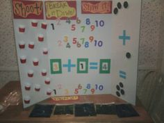 Family Math Night Booth/Common Core Standard: K.OA! Shoot the ball, count the manipulatives in the cup the ball goes into, decompose the sum in numbers and dots, then write it in the sensory bags =]